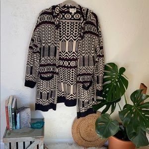 Woven Knit Hooded Cardigan